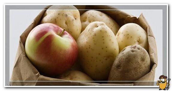 картофель и яблоко