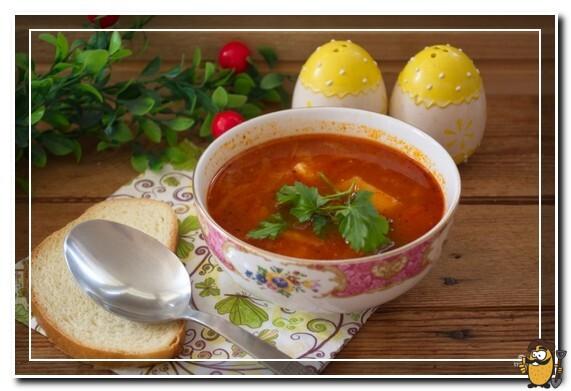 Картофельный суп с томатной пастой